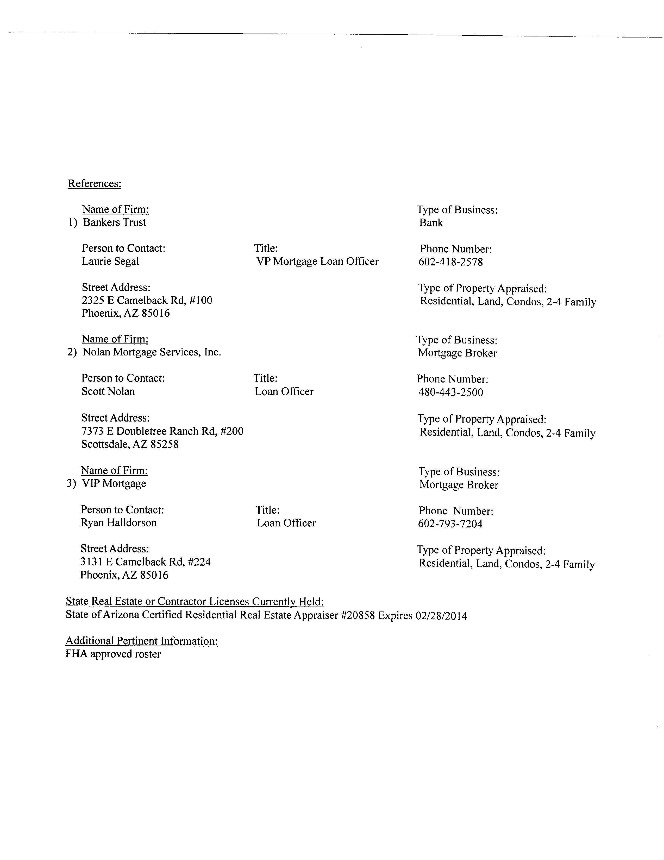 resume phoenician appraisals inc